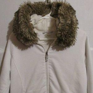EUC LL Bean Faux Fur Fleece Lined Hoodie Jacket M